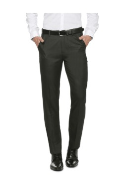Peter England Grey Slim Fit Flat Front Trousers - Mp000000003115324