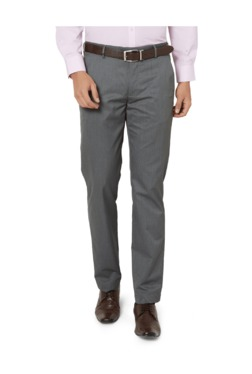 Peter England Grey Slim Fit Flat Front Trousers - Mp000000003115894