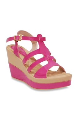 aa7bb02a2d6ef La Briza Jump Pink Ankle Strap Wedges