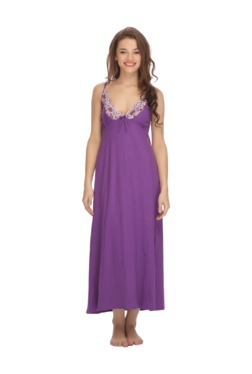 Clovia Purple Lace Cotton Nightdress