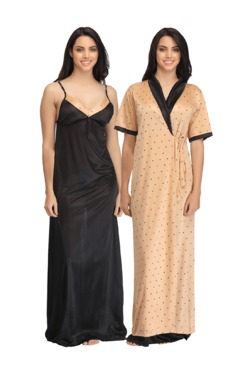 Clovia Brown & Black Printed Satin Nighty With Robe