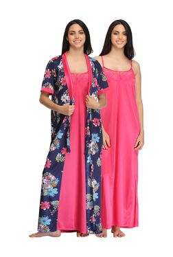 Clovia Navy & Pink Floral Print Nighty With Robe