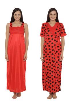 Clovia Red Heart Print Nighty With Robe - Mp000000003135729