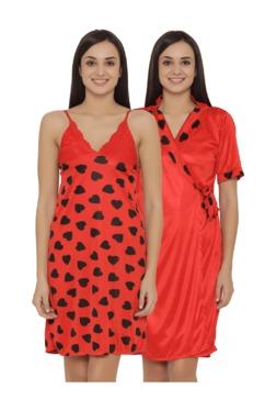 Clovia Red Heart Print Nighty With Robe
