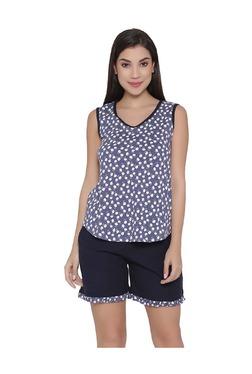 Clovia Blue Floral Print Top & Shorts Set