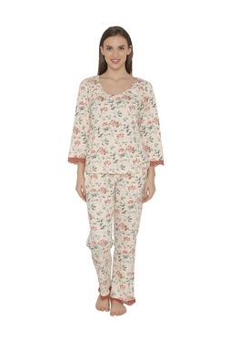 Clovia Peach Floral Print Wool Top & Pyjama Set