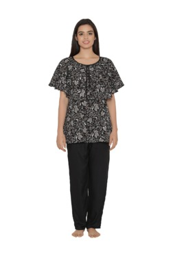 Clovia Black Printed Cotton Top & Pyjama Maternity Set