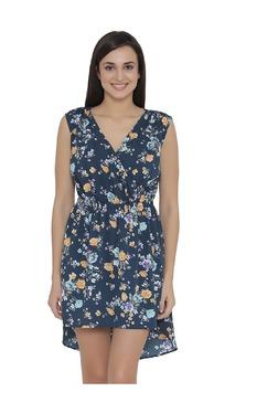 Clovia Navy Floral Print Beach Dress