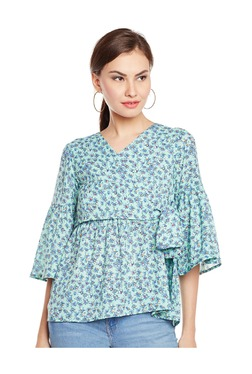 MEEE Mint Printed Polyester Top