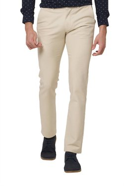 Basics Beige Solid Slim Fit Trousers