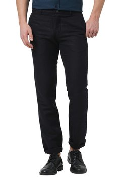 Basics Black Tapered Fit Flat Front Trousers