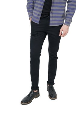 Basics Black Low Rise Slim Fit Flat Front Trousers