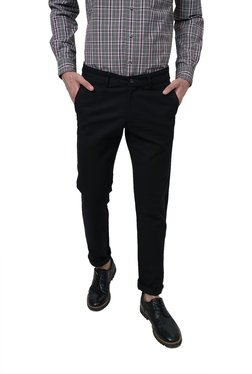 Basics Black Solid Slim Fit Trousers