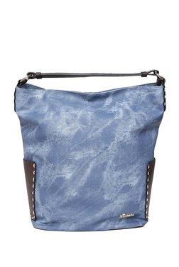 Esbeda Denim Look Denim Blue & Brown Hobo Bag