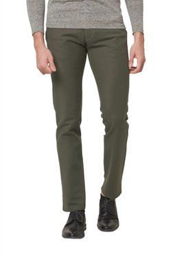 Basics Olive Solid Slim Fit Trousers