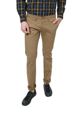 Basics Khaki Slim Fit Flat Front Trousers