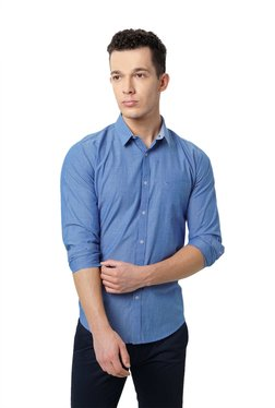 Basics Blue Solid Slim Fit Shirt