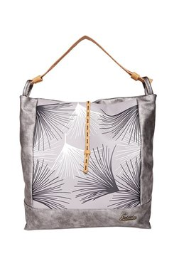 Esbeda Graphic Grey & White Printed Hobo Bag