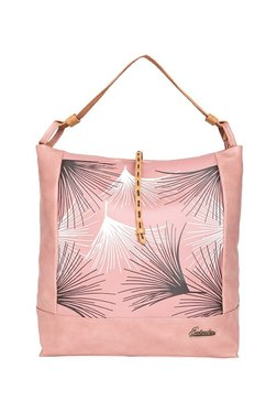 Esbeda Graphic Pink & White Printed Hobo Bag