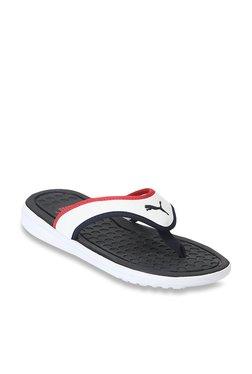 86cf2922887e Puma Lycus White   High Risk Red Flip Flops