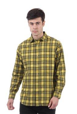 Nautica Yellow & Black Full Sleeves Slim Fit Shirt