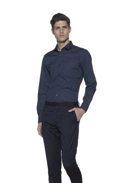 Weststreet By Westside Navy Slim Fit Cotton Printed Shirt