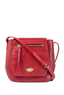 Hidesign Taurus 01 Red Textured Leather Flap Sling Bag