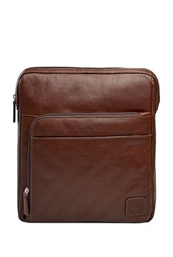 Hidesign Slider 03 Brown Solid Leather Cross Body Bag