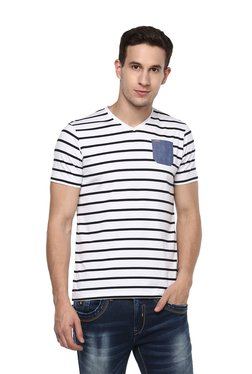 Spykar White Half Sleeves Striped T-Shirt