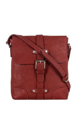 Hidesign Americano 01 Red Paneled Leather Flap Sling Bag