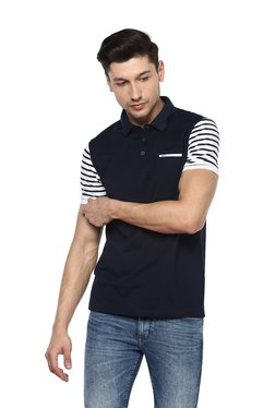 Spykar Navy Slim Fit Polo Striped T-Shirt