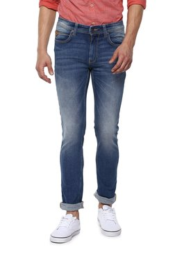 Spykar Dark Blue Tapered Fit Lightly Washed Jeans