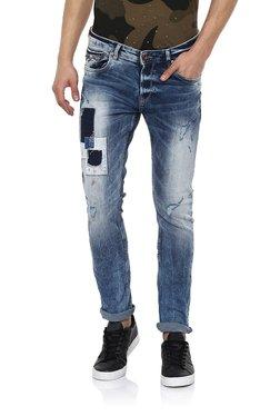 Spykar Dark Blue Distressed Skinny Fit Jeans