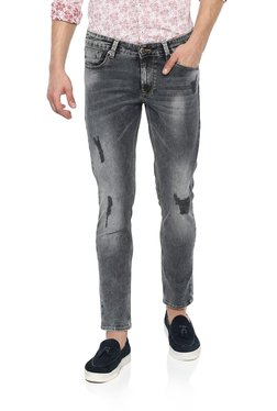 Spykar Grey Lightly Washed Distressed Jeans