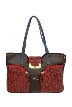 Holii CEDAR 01 Dark Brown & Red Paisely Leather Shoulder Bag