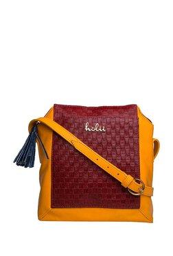 Holii GHAJNI 03 Red & Yellow Tassel Leather Sling Bag