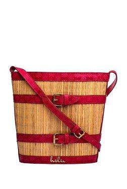 Holii JASMINE 03 Beige & Red Embossed Basket Sling Bag