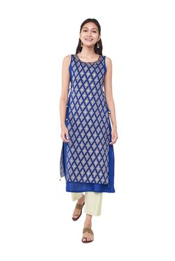 Global Desi Navy Printed Polyester Kurta