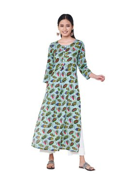 Global Desi Aqua Printed Cotton Kurta