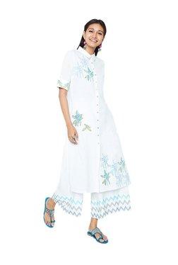 Global Desi White Printed Cotton Tunic