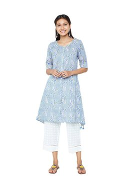 Global Desi Light Blue Cotton Printed Tunic