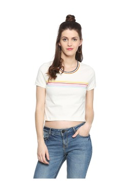 People Off White Striped Cotton Crop Top