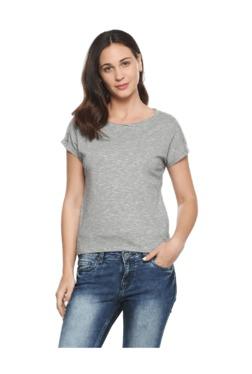 People Grey Textured Cotton Top