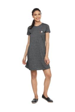 People Grey Textured Mini Dress