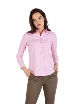 Solly By Allen Solly Pink Self Print Cotton Shirt