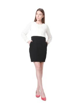 Solly By Allen Solly White & Black Cotton Mini Dress