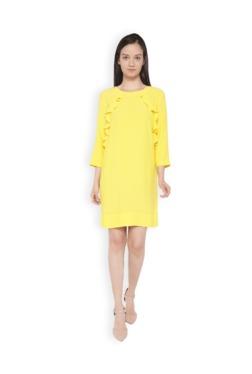 Van Heusen Yellow Knee Length Viscose Dress