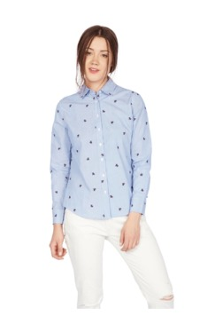 Solly By Allen Solly Blue Printed Cotton Shirt