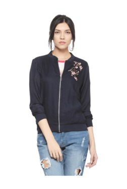 People Navy Embroidered Full Sleeves Jacket