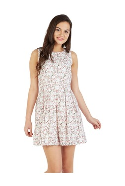 Solly By Allen Solly White Printed Cotton Dress